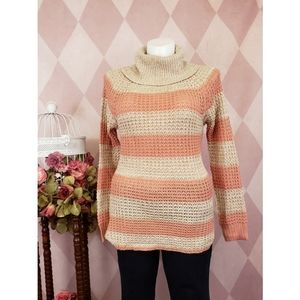 Rue 21 | Pink Striped Cowl Neck Sweater